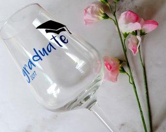 Graduate wine glass, Graduation gift, Graduation wine, Celebration glass, College gift, Uni gift, College leaver