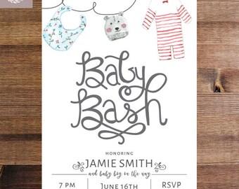 Baby Bash Shower Invitation | Watercolor Baby Shower Invite | Gender Neutral Shower Invitation | Printable Invitation or Printed Invites