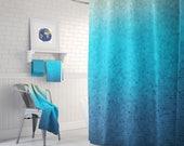 Sea Glass Mosaic Shower Curtain Set - blue ombre mosaic style coastal decor shower curtain, teal, bathroom ideas