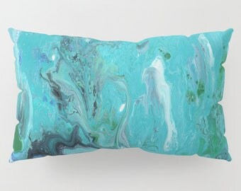 Blue Teal Marble Pillow Case - artistic decor, matches blue marble bedroom decor, art, curate the bedroom