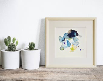 Original Watercolor Painting, Framed Small Art Painting, Ready to Hang, Modern Minimalist Art, Gift for Her, Painting for Her