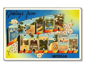 Benton Harbor Michigan mi Old Retro Vintage Large Letter Travel Postcard Reproduction Metal Sign Art Wall Decor STEEL 36x24 FREE SHIPPING