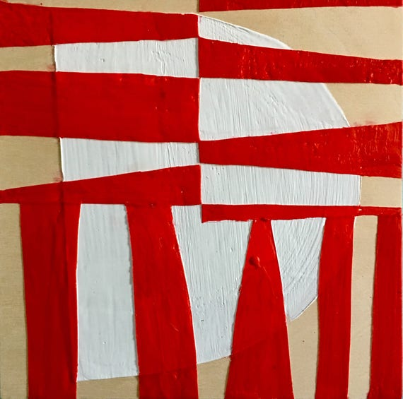 """Can't Hardly Wait, 10"""" square red and white encaustic painting"""