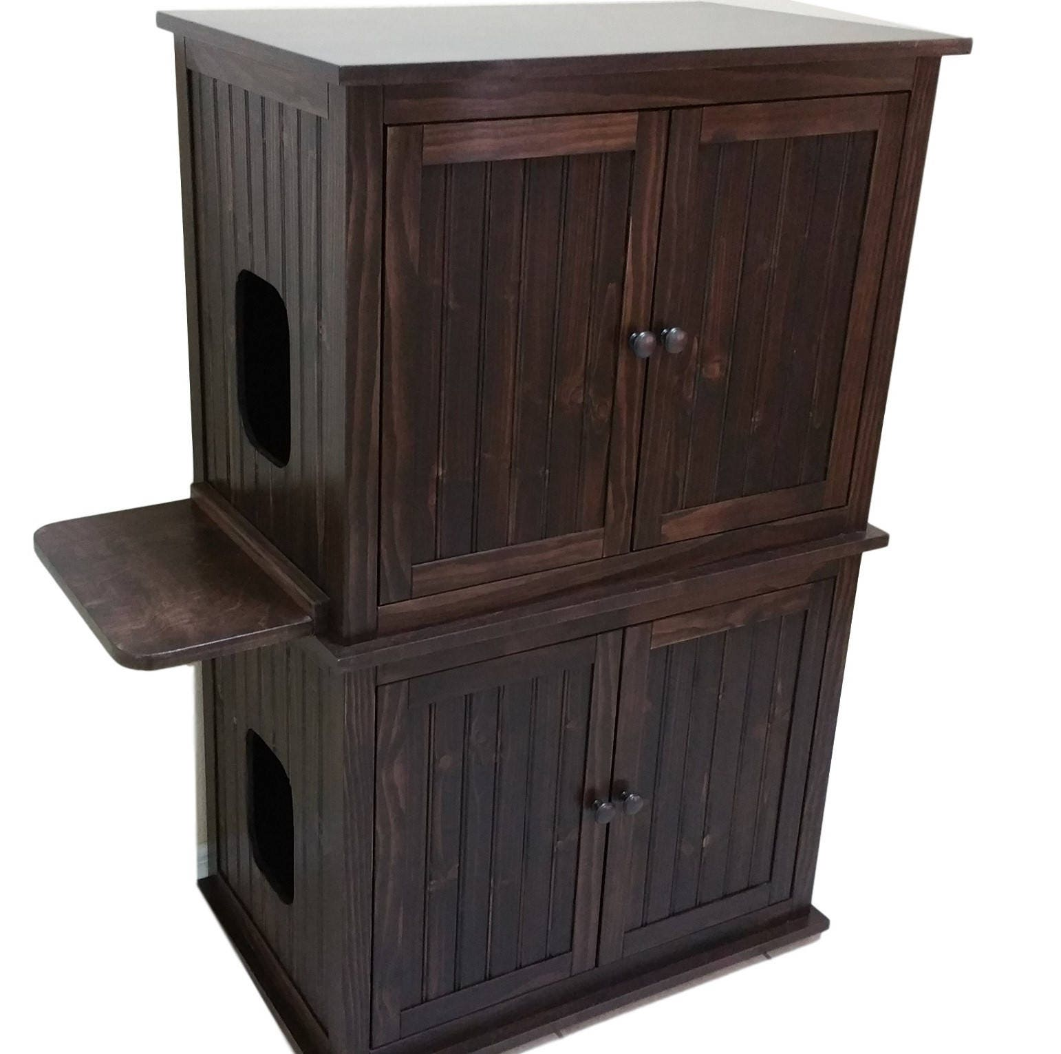 stacked double odor free custom hand made in usa wood cat litter box cabinet beaded panels not mdf