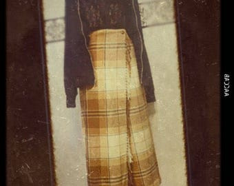 1990's Flannel Grunge Skirt by Cambridge Country, Size 12P, Vintage 90's Pin Up Skirt, 80'sTan Flannel Courtney Love Punk Skirt