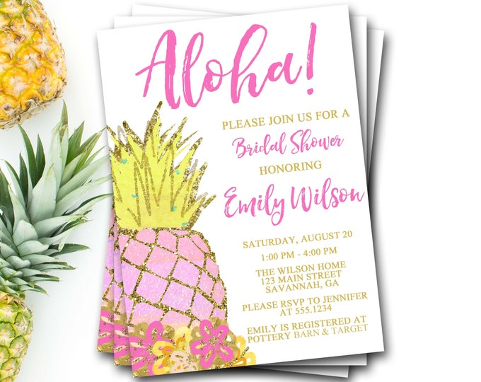 Pineapple Bridal Shower Invitation, Pineapple Invitation, Pineapple Invite, Aloha Bridal Shower, Luau Bridal Shower, DIY Printable