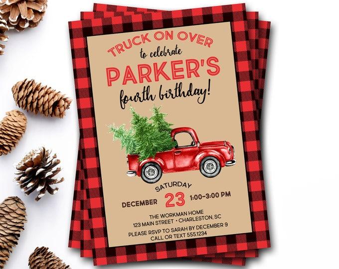 Christmas Truck Birthday Invitation, Winter Birthday Invitation, Lumberjack Birthday Invitation, Christmas Birthday Invite, Rustic Birthday