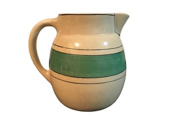 Roseville Pottery Utility Ware Green Banded Pitcher c.1920-1940s