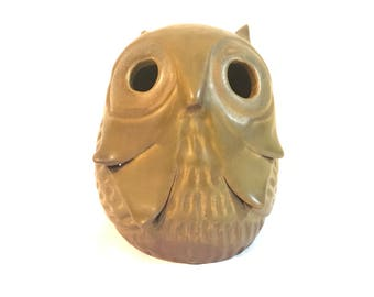 Designs West Handcrafted Stoneware Owl Candle Cover
