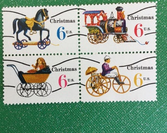 Vintage Christmas Postage Stamps, 20 pieces of Unused Postage featuring Christmas Toys, Face Value 06 each