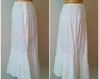 Vintage Edwardian Full Lace Slip, Antique 1910s Handmade Lace Slip, Double Stacked Bottom Full Edwardian Slip, Cotton Slip, Medium