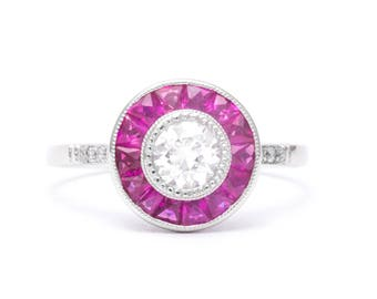 Art Deco 1.62ct  French Cut Ruby & Diamond Target Ring in Platinum
