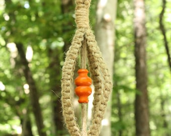 Jute Macrame Plant Hanger with Orange Wooden Beads