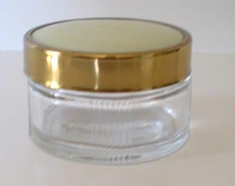 Vintage Vanity Jar Ribbed Glass Art Deco Era Cottage Chic