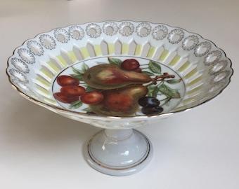 SALE Compote Royal Halsey Fruit Motif Reticulated Very Fine China MINT Serving Dish BonBon Dish  Dessert Server