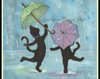 Dancing in the rain, black cats, Shadow Kitties, April Showers, a colorful card or print, Watercolor, Item #00465a