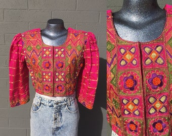Gorgeous Hot Pink Cropped Small Jacket Embroidered East Indian Ornate Gold Purple Green