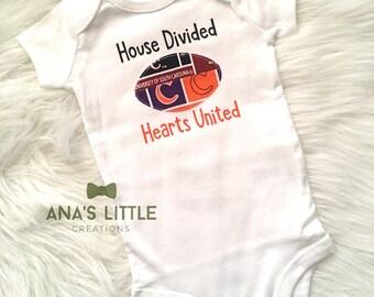 House Divided Hearts United Bodysuit ( University of South Carolina Gamecocks- Clemson Tigers) House Divided Baby, Gamecocks, Clemson Tigers