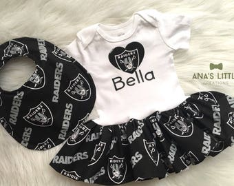 Oakland Raiders BodySuit, Raiders Bib, Baby Dress with name and Heart Applique, Raiders Dress, Raiders Bib and Raiders Shoes