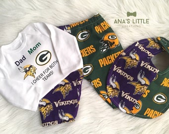 Custom House Divided ( Vikings - Packers ) I Cheer For Both Teams Pants or Shorts Bib 3pc Set