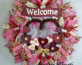 Welcome Hearts Mesh Wreath, Mother's Day Wreath, Country Mesh Wreath, Country Decor