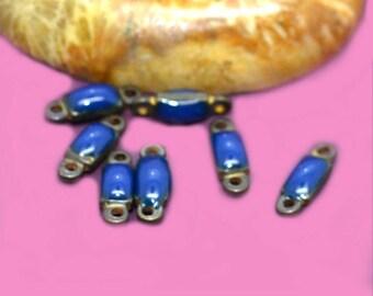 20 10x03mm blue enamelled connectors bronze
