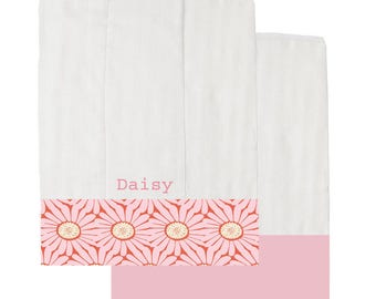 Pink Daisies Organic Burp Cloth Set