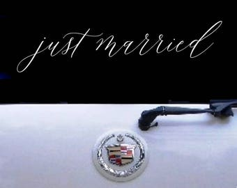 Handwritten Style Just Married Car Decal 1001-Just Married Car Window Decal -Just Married Decal -Just Married Sign-Just Married Sign for Car