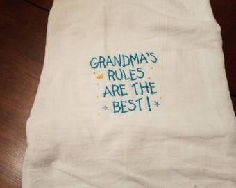 Grandma's rules are best tea towel