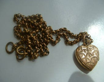 Vintage rolled gold locket with chain