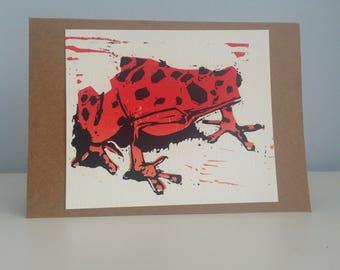 Linocut Poison Dart Frog Card