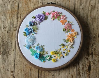 PERSONALISE Ribbon embroidery. Rainbow embroidery, textile art. Rainbow. Gift for her. Home decor. Hoop art, floral art, flowers,