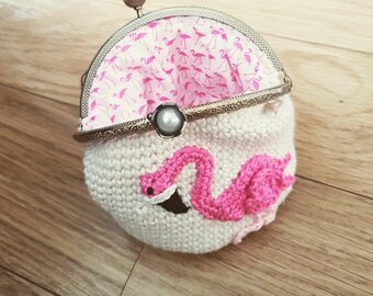 Crochet Flamingo coin clasp purse lined