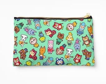 Chibi Animal Crossing Pattern ~ Wild World / New Leaf ~ Pencil Case / Cosmetic Bag