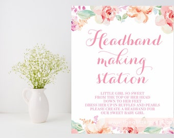 Printable Headband making station sign, make a headband, 8x10 pink coral blush floral watercolor, baby girl shower, INSTANT DOWNLOAD 003