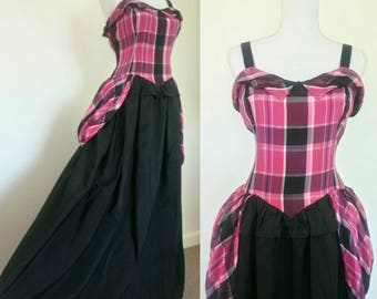 1940s Plaid Taffeta and Rayon Gown with peplum size M/L