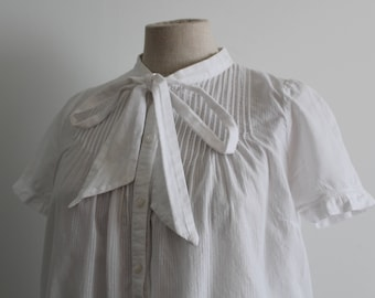 White Cotton 1920s Style Secretary Blouse