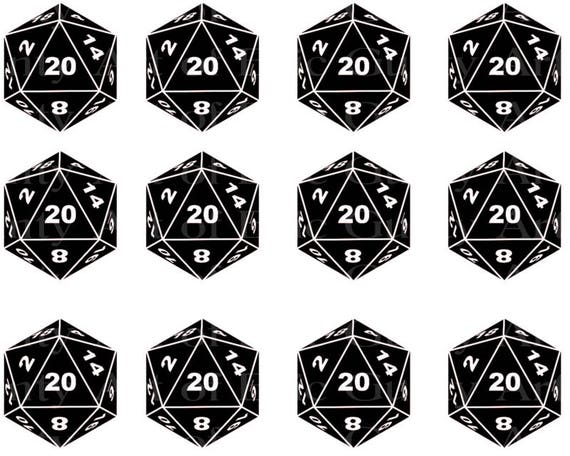 D20 Roleplay Dragons Dice - Edible Cake Side Toppers- Decorate The Sides of Your Cake! - D23002