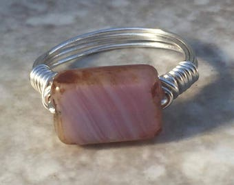 Ring Size 5.25 - Purple / pink ring with silver tone wire