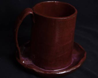 Red Handmade Earthenware Bacon Cooker; Army Veteran; Georgia Red Clay; Veteran Owned; Disabled Woman Veteran; Female Veteran