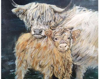 Highland cows printed from my original acrylic painting.