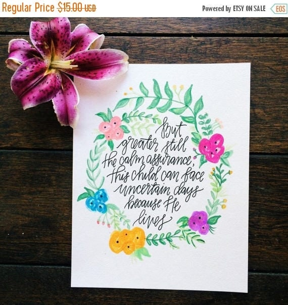 ON SALE Because He lives Easter scripture print, nursery decor, baptism gift, Christian wall art, watercolor floral design, hymn