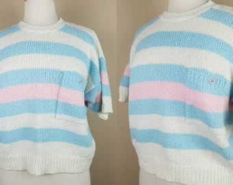1980s short sleeve sweater vintage large baby blue white pink