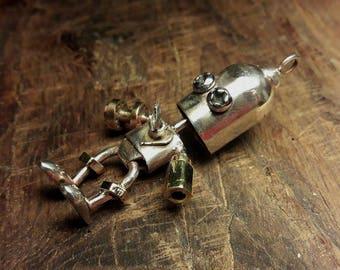 Robot  unique handmade steampunk silver pendant OOAK