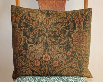 """Vintage Art Nouveau Chenille Fabric Cushion 17"""" x 15"""""""