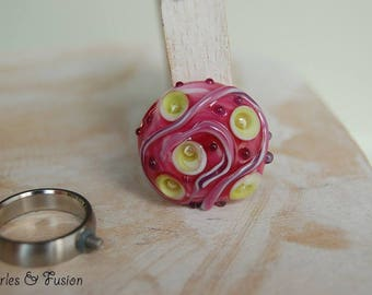 Glass ring interchangeable Lampwork screw * guess * pink/green - Lampwork - handmade - Lampwork ring - handmade glass jewelry