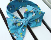 Girl's Headwrap Big Bow Cotton Headband in blue Peter Rabbit Flopsy Bunny quality cotton fabric