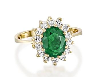 1 carat Green Emerald Engagement Ring-Diamond ring with Emerald-Green Emerald-Oval cut engagement ring-Diana Ring-Natural Emerald Ring