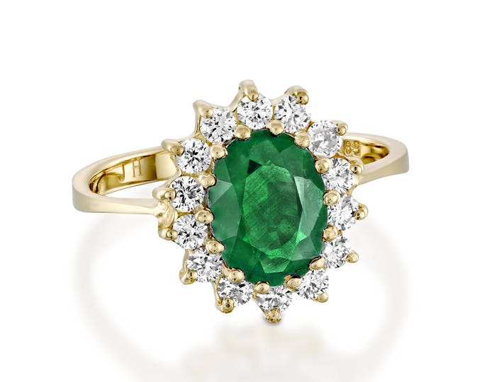 1 carat Green Emerald Engagement Ring-Diamond ring with Emerald-Green Emerald-Oval cut engagement ring-Diana Ring-Natural Emerald Ring