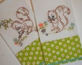 Squirrels Gathering Nuts Tea Towels